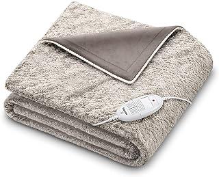 Beurer HD 75 北欧电热毯,毛皮外观可爱电热毯,6 个温度等级,可机洗,自动关机,米色/棕色