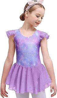 Boyoo 女孩芭蕾舞裙褶皱袖舞蹈紧身连衣裤带闪亮蓬裙,适合 3-11 岁