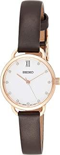 Seiko 女士模拟经典石英手表皮革表带 SUR698P2