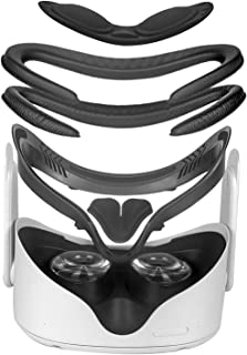 Oculus Quest 2 VR PU 皮革面部支架和保护镜头盖,防尘防刮盖,2 包 PU 皮革面罩替换装