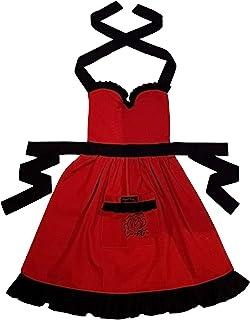 Ragged Rose Frilly 围裙,棉,红色带黑色,均码 10-16