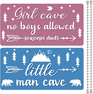Jetec 2 件儿童房装饰 PVC 塑料装饰 蓝色 粉色 儿童房标志 洞穴门挂标志 男孩女孩家居卧室装饰