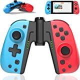 DELAM Joycon 替換控制器適用于 Nintendo Switch/Switch Lite w/Grip 連接器 - L/R Joy Pad 遙控、可編程宏、Turbo、運動控制和雙重沖擊(紅色和藍色)