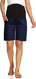 Kegiani 孕妇斜纹棉布短裤,适合孕妇,休闲裤,带口袋,夏季短裤,内缝 22.86 厘米