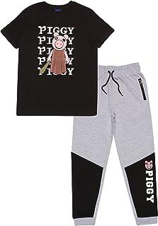 Popgear 女孩小猪棒球蝙蝠女孩 T 恤和慢跑裤套装 黑色/麻灰时尚 T 恤