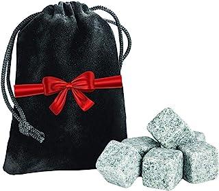 威斯基石 6 件套 - 天然钻带手提袋的饮料摇篮 - 保持口味可重复使用的*吧饮料礼品套装