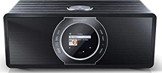 SHARP DR-I470 PRO (BK) 立体声互联网收音机 / DAB (DAB + 数字收音机 Spotify, WiFi流媒体 蓝牙 DLNA 应用程序控制 彩色显示屏 FM 收音机 闹钟/*和贪睡功能 30 W 黑色