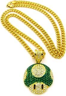 Mushroom 脸吊坠男士 Iced Out Hip Hop 古巴链 76.2 厘米项链绿色金色