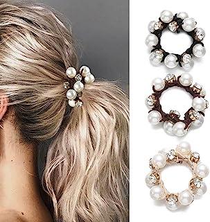 Brinie Hair Ties 黑色弹性发夹珍珠发带水晶发绳女士和女孩发饰(3 件装)