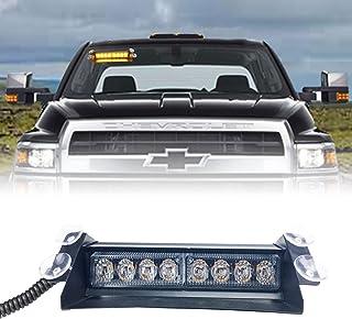 WarningWorx Pulsar 8 超亮挡风玻璃 LED 警示灯 – 通用安装 LED 车辆应急灯 – 可拆卸 LED 拖车灯 – 包括 8 英尺(约 2.8 米)线和点烟器适配器