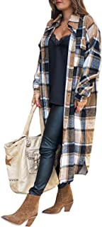 Vsaiddt 女式休闲长款格子外套长袖系扣羊毛混纺超长门襟夹克