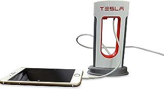Tesla 台式增压器复制充电站,Tesla 增压站 - 适用于 Android 和 iPhone 的 USB-C 和 Lightning 数据线