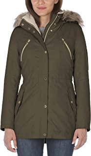 Nautica 诺帝卡 女式超细纤维派克大衣连帽连帽外套,橄榄色,XL 码