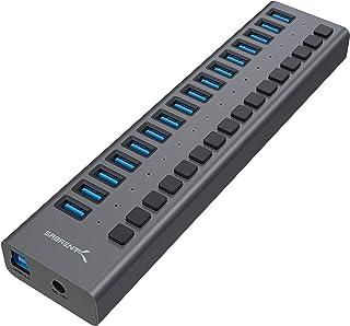 Sabrent 16 端口 USB 3.0 数据集线器和充电器,带单个开关 [90 瓦] (HB-PU16)