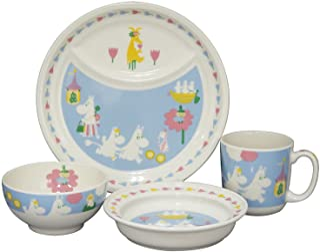 YAMAKA 山加商店 MOOMIN (姆明) 宝宝小孩 婴儿 儿童餐具 4件套(午餐盘 饭碗 马克杯 盘子) (礼盒装) 儿童用 餐具 MM1200-113, 白色 32.5×22.5cm