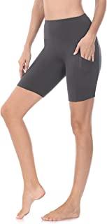 Joy's Choice 女式拉绒超细纤维高腰超柔软骑行压缩短裤带侧口袋瑜伽跑步锻炼