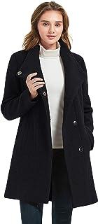 IKAZZ 女式羊毛混纺外套,冬季保暖防风优雅豌豆中长风衣夹克