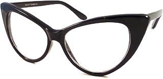 VINTAGE 女士性感猫眼超大镜框透明镜片眼罩黑色
