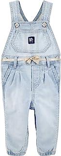 OshKosh B'Gosh 女婴针织轻质水洗弹力柔软牛仔背带裤,3 个月