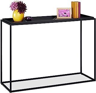 Relaxdays 玄关桌,高宽深 80 x 110 x 38 厘米,搁板走廊,客厅,金属/中*纤维板,窄入口桌,黑色