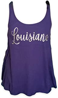 Like A Cajun LLC Louisiana 紫色和金色闪光飘逸背心