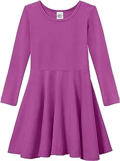City Threads 女童棉质长袖Twirly Skater 派对连衣裙