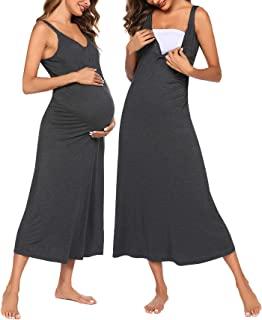 Ekouaer 女式短袖/长袖睡衣条纹哺乳睡衣哺乳睡裙