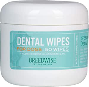 Breedwise 薄荷味牙齿和牙龈牙垢去除剂 无需刷子 每日两次 50 张狗狗*湿巾