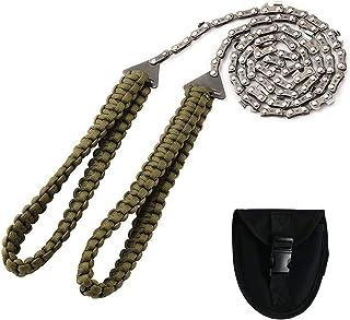 带伞绳手柄的口袋电锯 紧急户外生存装备 折叠链锯 带携带袋 适用于露营、狩猎、切割树木、徒步、背包(36 英寸 - 16 齿)