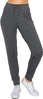 GLASS TWO 女式慢跑运动裤 – 休闲法式厚绒布锥形高腰弹性腰部口袋运动裤
