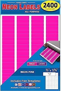2400 件装,1/2 英寸 x 1-3/4 英寸矩形颜色编码地址标签,亮霓虹粉,8 1/2 x 11 英寸纸张,适合所有激光/喷墨打印机,每张 80 个标签,0.5 x 1.75 英寸