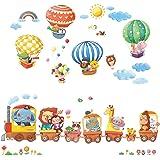 DECOWALL DA-1406 动物火车和热气球儿童墙贴墙贴即剥即贴可拆卸墙贴,适合儿童幼儿园卧室客厅装饰