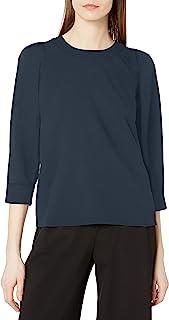 Amazon Brand - Lark & Ro 女式 3/4 泡泡袖圆领上衣