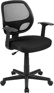 Flash Fundamentals 中背黑色网眼旋转人体工学办公椅带扶手