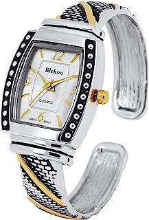 Blekon Collections 日本石英女士 25 毫米表壳优雅袖口精细手镯手表(仅适合 6 英寸至 7 英寸手腕)