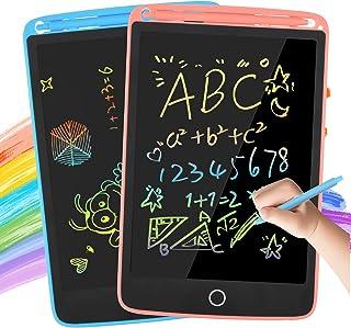 LCD 书写平板电脑,2 件装 8.5 英寸(约 21.6 厘米)涂鸦板,儿童彩色涂鸦板,电子绘图平板电脑,教育绘画垫,生日礼物和 4 岁男孩玩具(蓝色和粉色)
