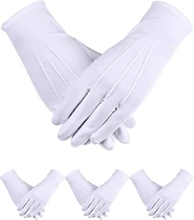 Sumind 4 双成人制服手套氨纶手套礼服手套适用于警察正式燕尾服守卫游行服(白色 D)