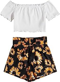 MakeMeChic 女式露肩露脐上衣和纸袋束带短裤 2 件套