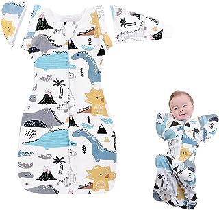 Nearkoi 襁褓毯,婴儿睡袋袋袋过渡带袖可拆卸长袖或无袖,* 纯棉,舒适贴合,平静摇晃,安抚宝宝0-6 个月(M,蓝色)