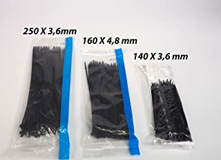 Sanfor 76015 尼龙电缆扎带包套装,黑色