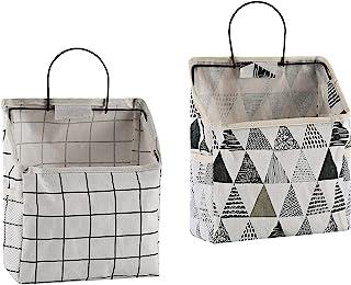 2 件壁挂式储物袋,防水门上衣柜收纳袋挂袋亚麻棉收纳箱,适用于卧室、浴室