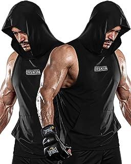 DRSKIN 2 件装男式连帽背心健身肌肉剪裁 T 恤无袖健身房训练连帽衫锻炼干燥