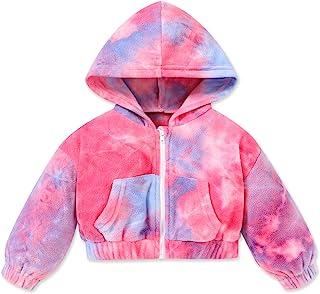幼儿女童衣服扎染拉链连帽棉质摇粒绒运动衫保暖上衣冬季