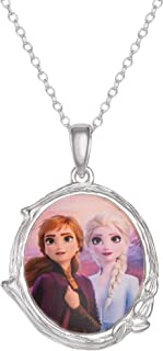 Disney 冰雪奇缘 2 姐妹艾莎和安娜纯银吊坠项链,18 英寸(约 45.7 厘米)