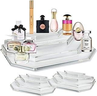 byAlegory (2 件套)亚克力迷你香水和迷你香味油收纳盒和梳妆展示 4 层用于存放迷你、旅行装、滚珠*香水瓶 - 透明
