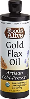 Foods Alive Gold Flax Seed Oil, Artisan Cold-Pressed, Organic, 16oz