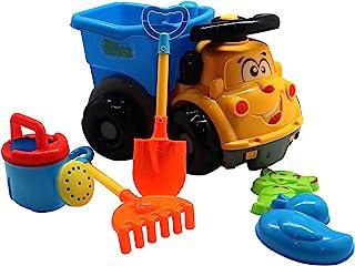 3 – 10 儿童沙滩玩具,幼儿自卸卡车玩具,沙堡积木套装 | 6 件套,不含双酚 A 塑料,*提升儿童创造力,角色扮演 | 男孩和女孩的夏季礼物