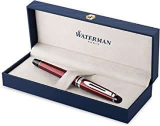 Waterman Expert Fountain Pen, Dark Red with Chrome Trim, Fine Nib with Blue Ink Cartridge, Gift Box