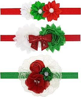 女婴圣诞玫瑰花头带弹性花卉钻石发箍 JHC01