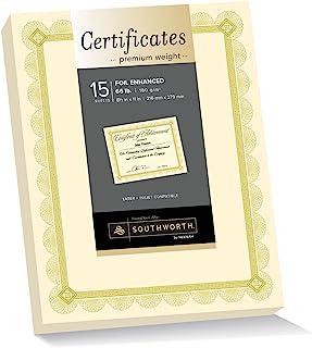 Southworth Foil 增强高级证书,8.5 英寸 x 11 英寸,70 磅/180 GSM,象牙色,金色铆钉设计,15 件 - 包装可能不同 (CTP2V)